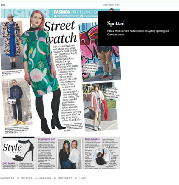 Hills & West spotted in the Sunday Telegraph Insider
