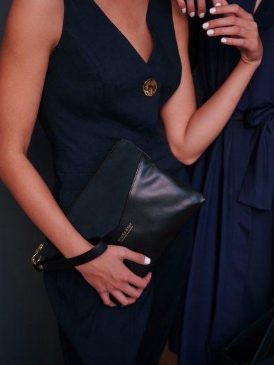 Black Navy Clutch Bag